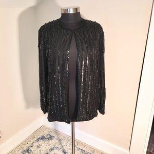 Vintage Striped Sequin Evening Jacket in Black